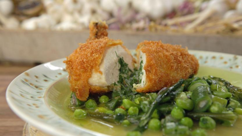 Classic chicken Kiev with spring vegetables