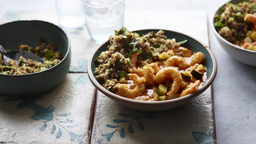Coconut prawn curry with cauliflower 'rice' recipe