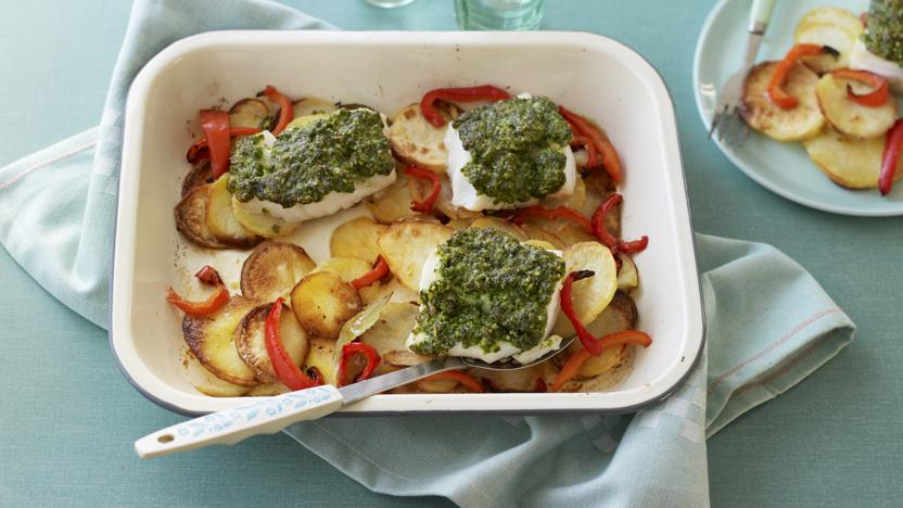 Fish and potato traybake with pesto
