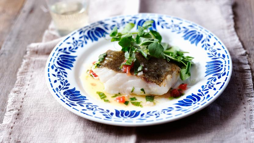 Coley with tarragon sauce vierge