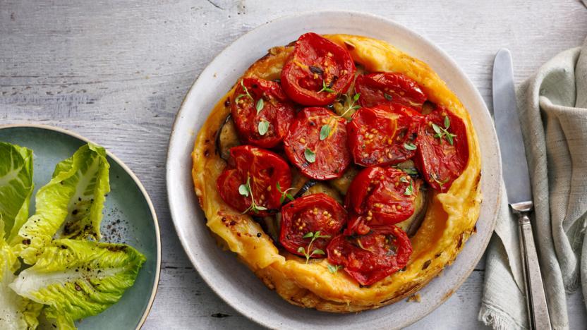 Confit tomato and aubergine tarte tatin