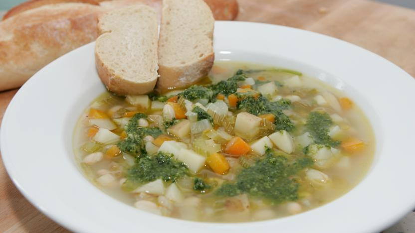 Country vegetable soup with basil pistou recipe bbc food country vegetable soup with basil pistou forumfinder Image collections