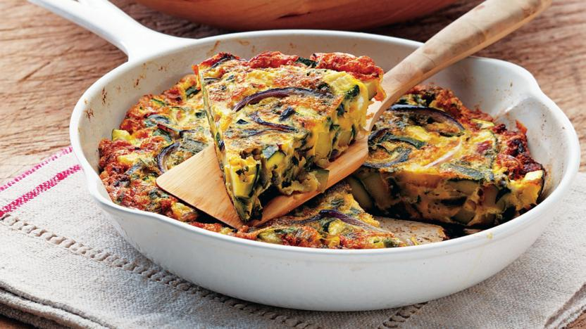 Courgette and mint frittata