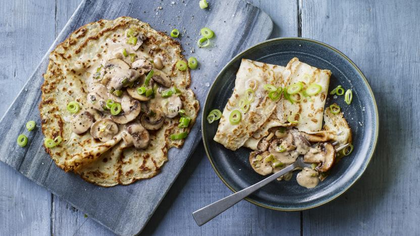 Creamy mushroom pancakes