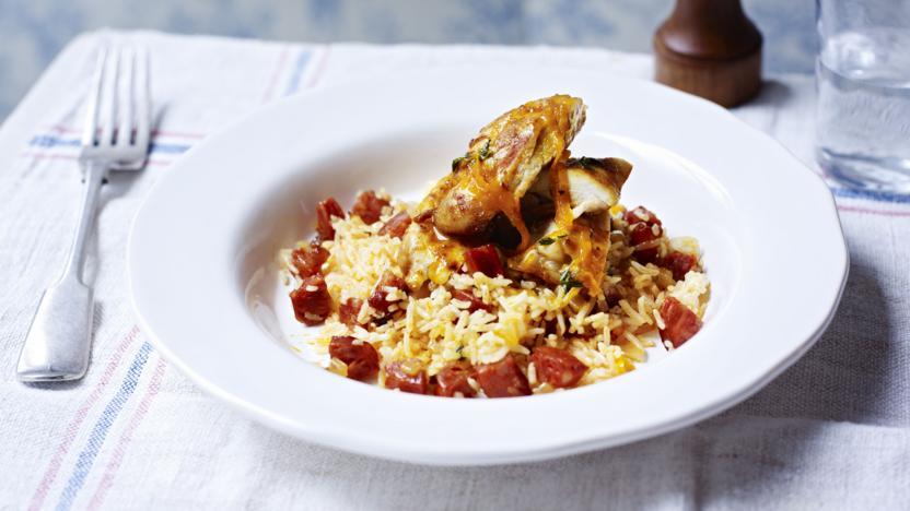 Crisp paprika chicken on chorizo rice