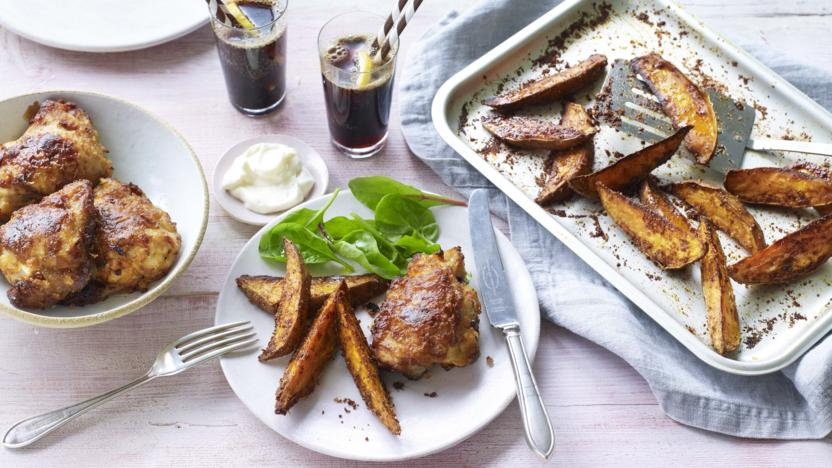 Crispy chicken with sweet potato fries and barbecue beans recipe crispy chicken with sweet potato fries and barbecue beans forumfinder Images