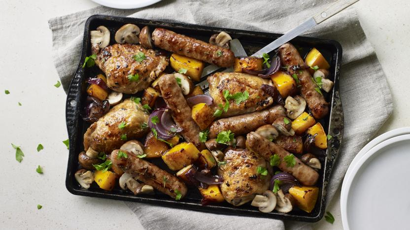 Sausage, chicken and squash traybake