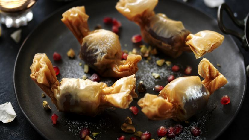Date parcels stuffed with frangipane and pomegranate