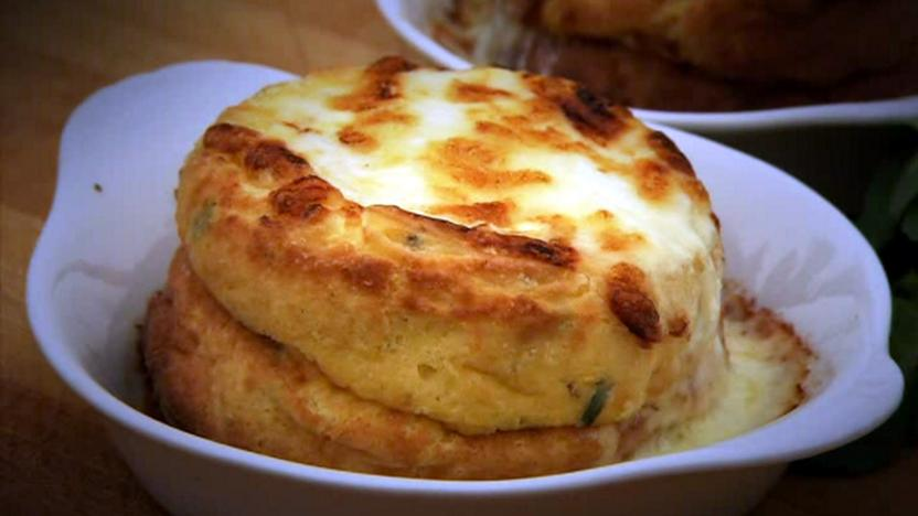 Double baked cheese soufflés
