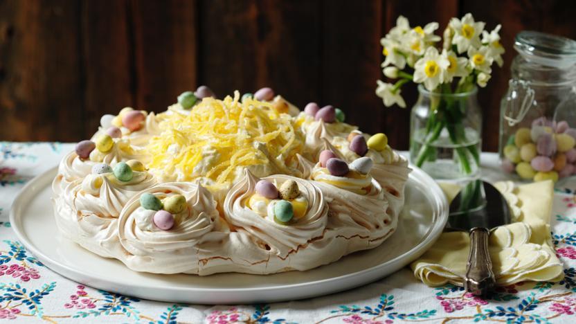 Easter Lemon Pavlova Recipe Bbc Food