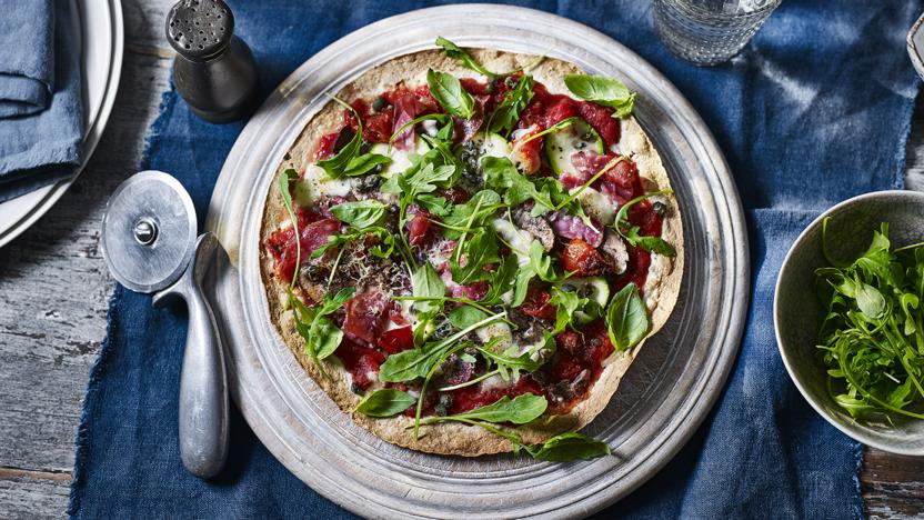 Easy pizza with parma ham and mozzarella recipe bbc food easy pizza with parma ham and mozzarella forumfinder Choice Image