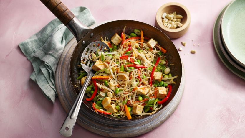 Healthy Stir Fry With Tofu And Rice Noodles Recipe Bbc Food