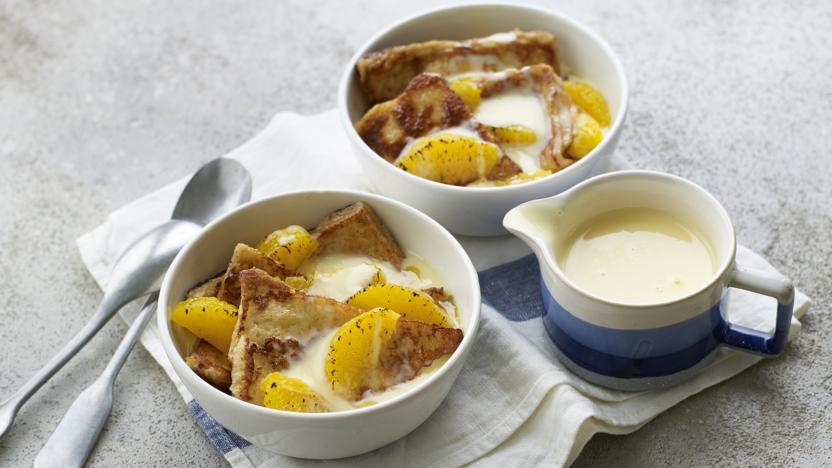 Sweet eggy bread in custard