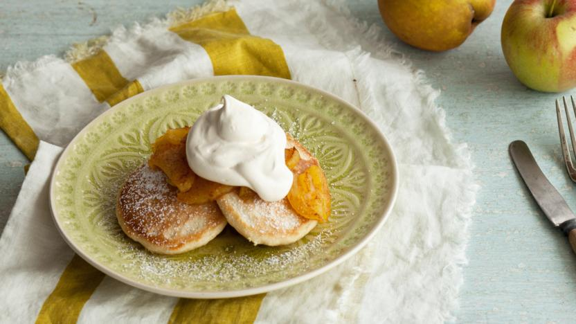 Fat pancakes with fried apples