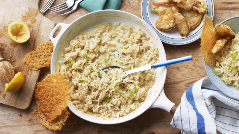 Fennel and lemon risotto, Parmesan crisps and fennel fritters