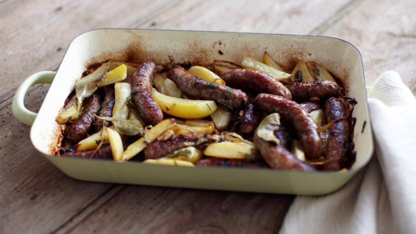 Fennel sausages braised with lemony potatoes and bay leaves