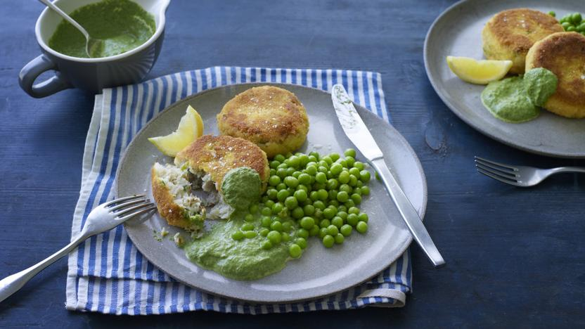 Fish cakes with masala peas and spinach sauce