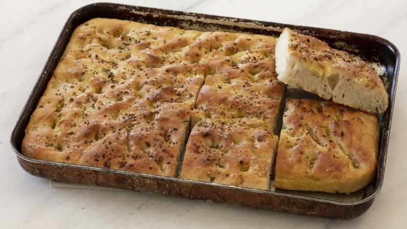 Focaccia with garlic and rosemary