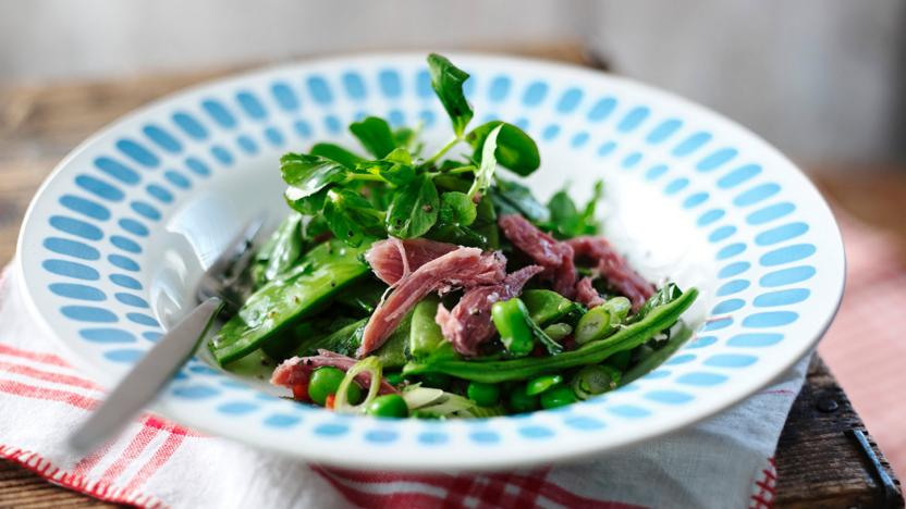 Fresh pea, broad bean and ham hock salad