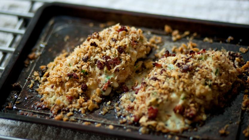 Garlic Crumbed Cheese Stuffed Chicken Recipe Bbc Food