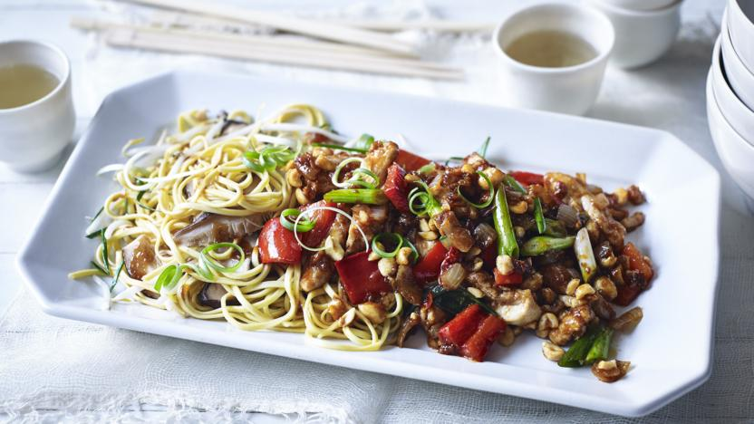 General Tso's chicken with garlic chive and mushroom noodles
