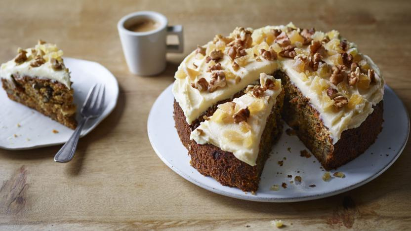Ginger and walnut carrot cake recipe