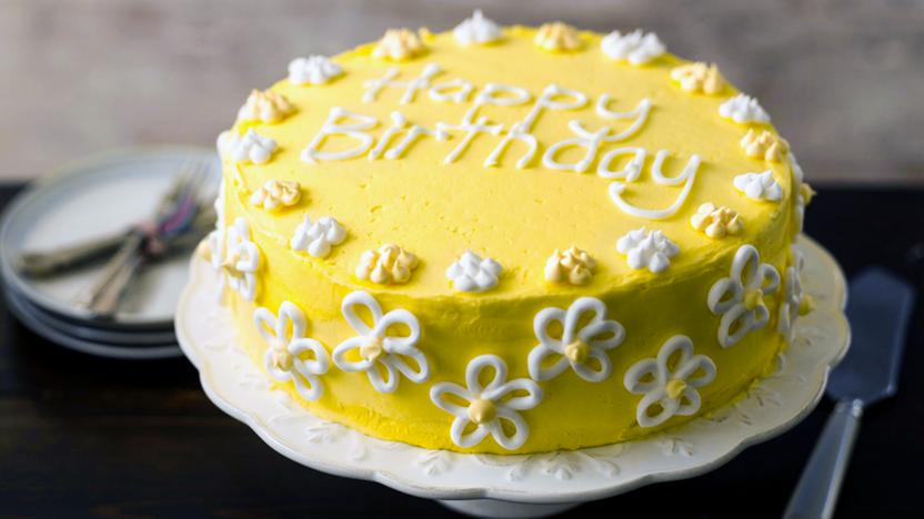 Magnificent Flowery Birthday Cake Recipe Bbc Food Funny Birthday Cards Online Alyptdamsfinfo