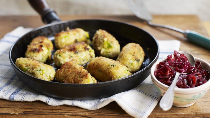 Glamorgan sausages with red onion and chilli relish