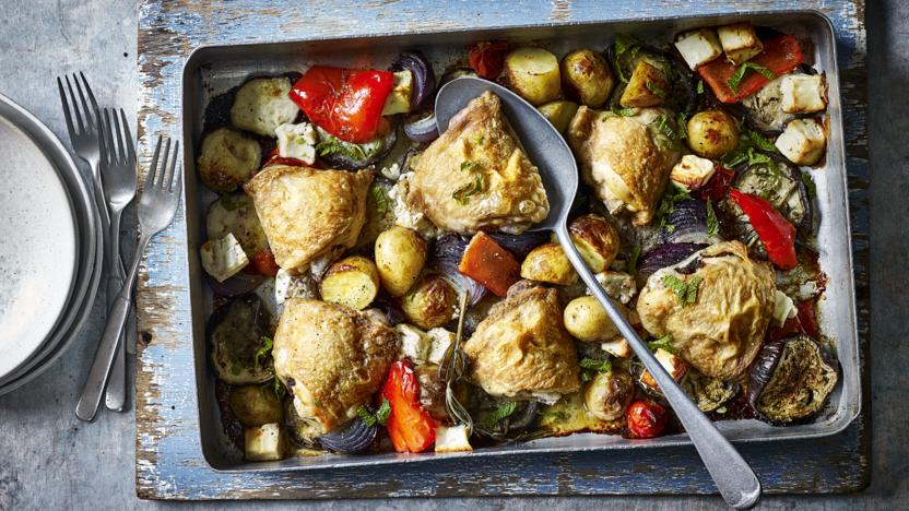 Greek-style chicken traybake
