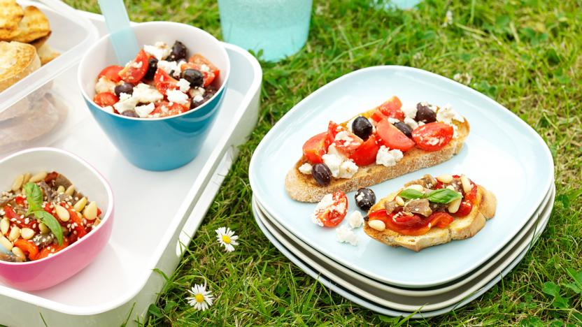 Greek salad on bruschetta
