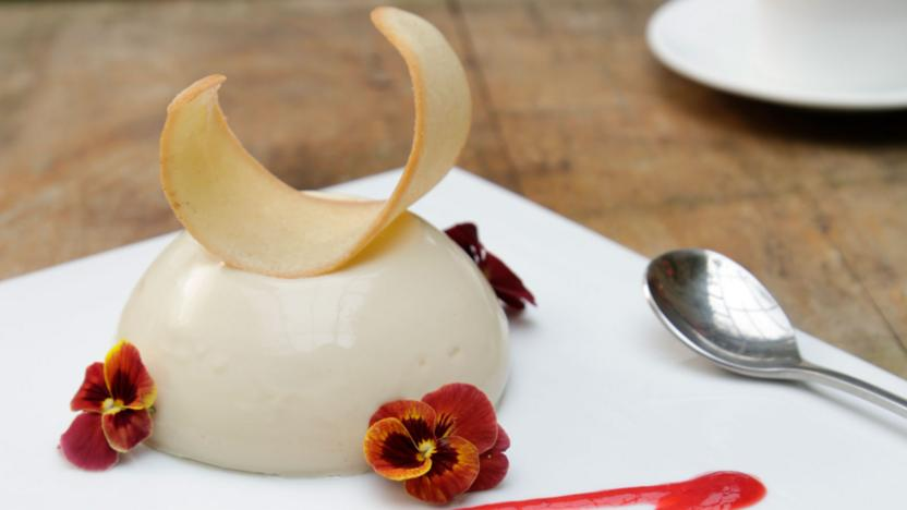 Green tea panna cotta with cardamom tuile biscuits