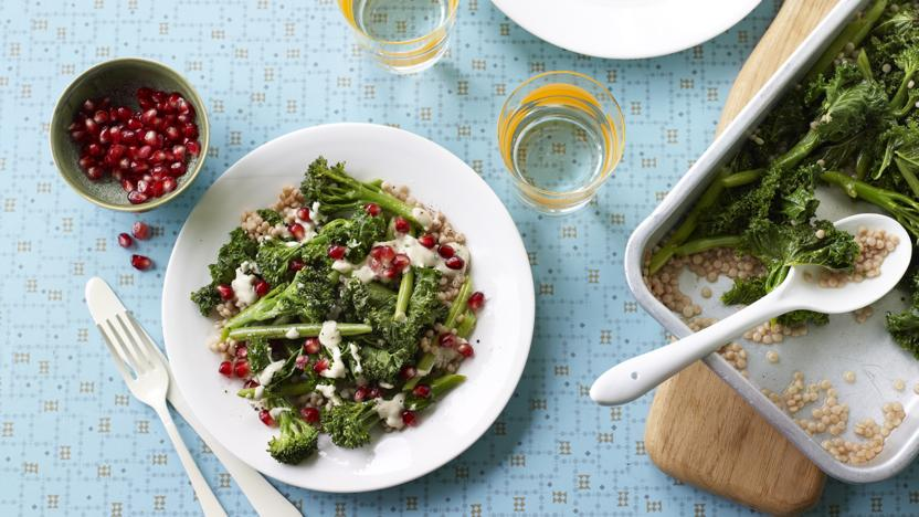 Greens with giant couscous and tahini