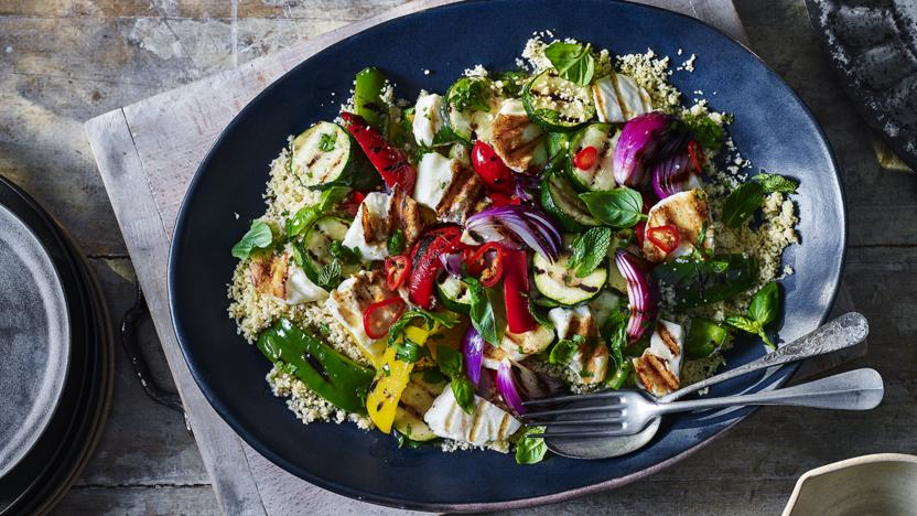 Griddled veg and halloumi with couscous