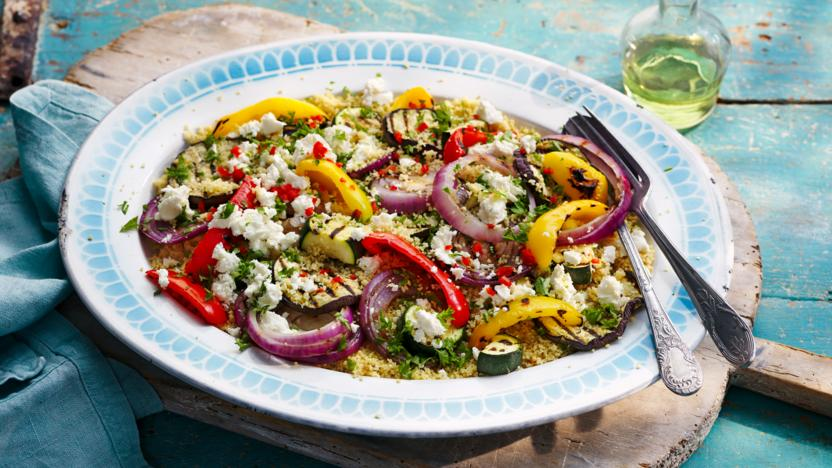Griddled vegetables with feta and couscous