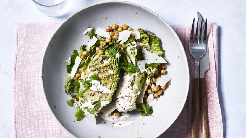 Grilled Caesar salad with crispy chickpeas