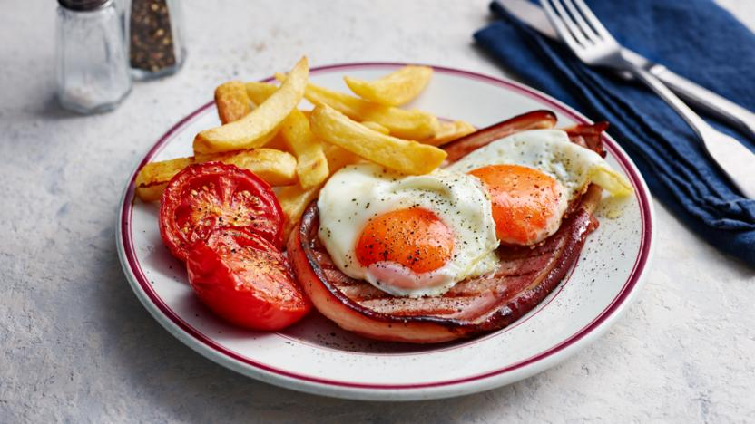 Gammon with double egg and oven chips