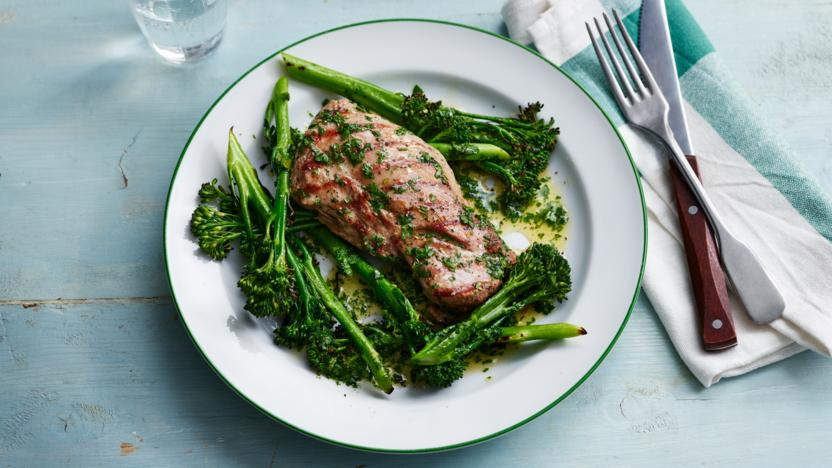 Grilled lamb steak with rosemary butter and chargrilled broccoli