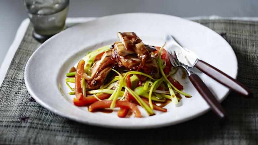 Teriyaki chicken with leek and pepper stir-fry
