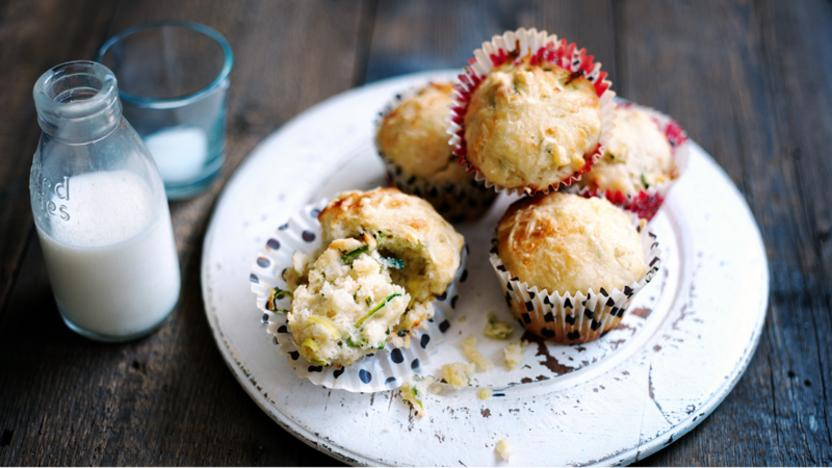 Savoury gruyère and courgette muffins