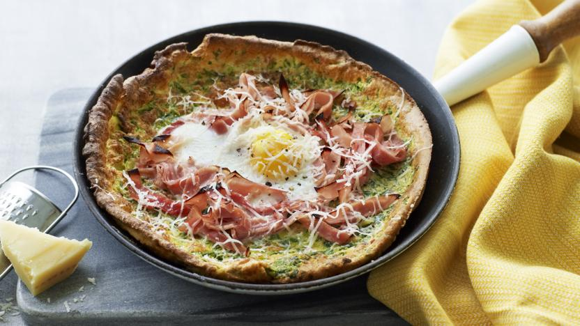 Ham, egg and spinach Dutch baby pancake