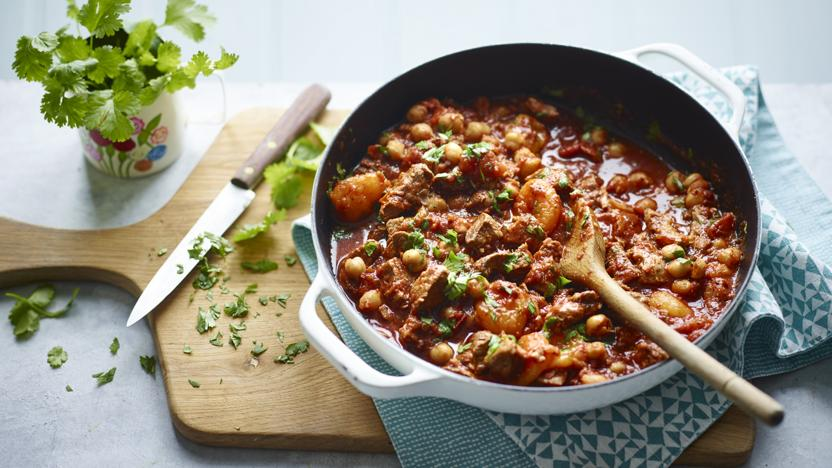 Harissa lamb with chickpeas