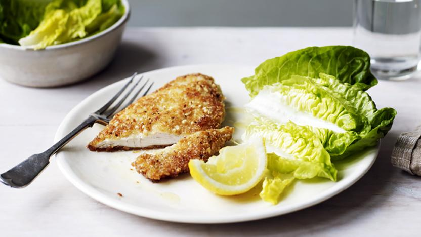 Hazelnut and parmesan-crusted chicken