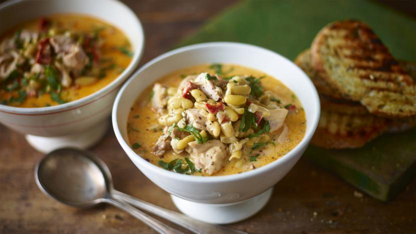 Hearty chicken and chorizo soup