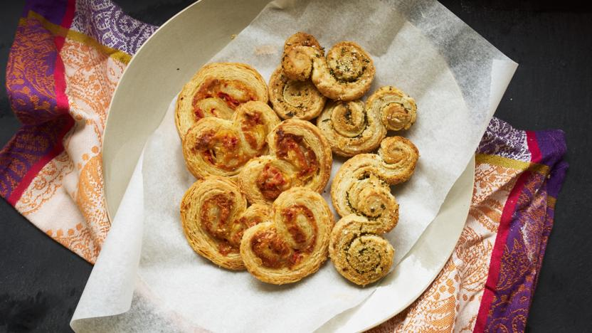 Herby puff twists and pepper and goats' cheese palmiers