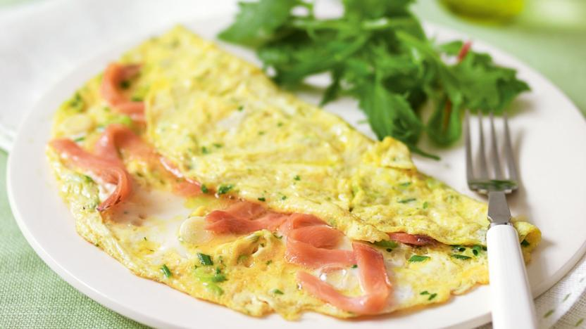 Herby smoked salmon omelette