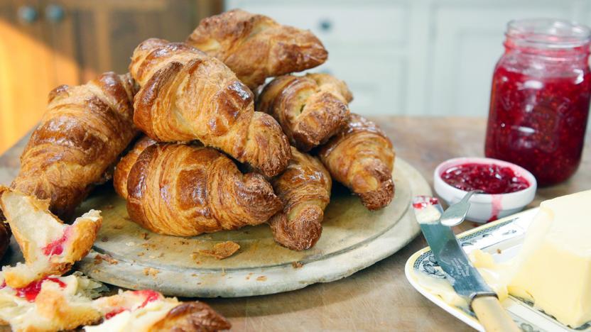 Homemade buttery croissants