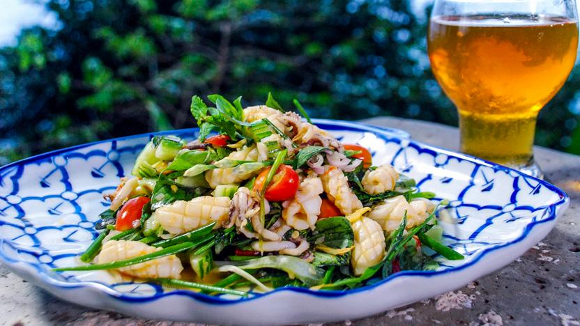 Hot and spicy Thai squid salad (Yam pra-muek)
