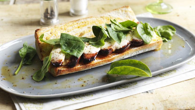 Hot chorizo and mozzarella sandwich