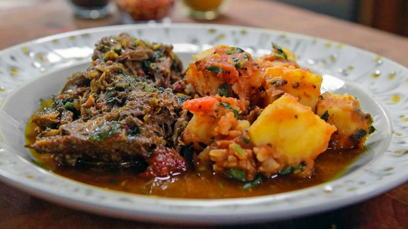 Indian-spiced lamb shoulder with Bombay potatoes