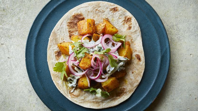 Indian-spiced potato wraps